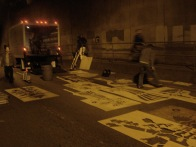Unloading and laying out the stencils. Only a few hours to work, so gotta be quick!